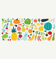 colorful food set for your design cute doodle vector image
