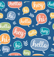 colorful hello speech bubble seamless vector image vector image