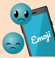 cute emojis with smartphone cartoons vector image vector image