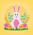 cute rabbit flowers vector image vector image