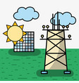 energy tower and solar energy with clouds vector image vector image
