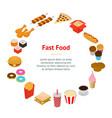 fast food banner card circle isometric view vector image vector image