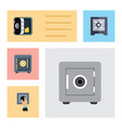 flat icon safe set of protection closed locked vector image vector image