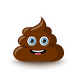 Funny and cute poop character placed on white