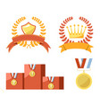 Gold trophy medals and emblems isolated