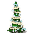 green christmas tree decoration fabric and pompom vector image