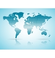 halftone blue Earth map with reflection vector image vector image