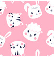 hand drawing a sweet animals pattern vector image