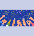 hands with champagne glasses sparklers celebration vector image