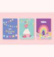 happy birthday cupcake gifts rainbow decoration vector image