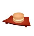 Imagawayaki Red Bean Pancake on Geta Plate vector image vector image