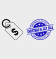 line price tag icon and scratched christmas vector image vector image
