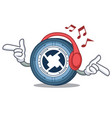 listening music 0x coin mascot cartoon vector image vector image