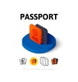 Passport icon in different style vector image vector image