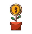 potted plant money coin business icon isolated vector image