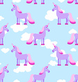 Purple Unicorn on blue sky with white clouds vector image vector image