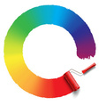 rainbow roller brush vector image vector image