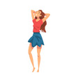 relaxed young woman standing throwing hands over vector image vector image