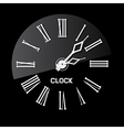 Retro White Abstract Clock on Black Background vector image vector image
