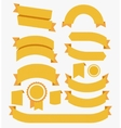 Round Ribbons Flat Design Set Yellow vector image