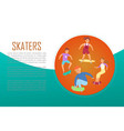 scaters teenagers skating lesson on skateboard vector image vector image