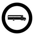 school bus black icon in circle vector image