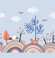 seamless doodle autumn border hand drawn vector image