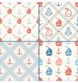 seamless pattern set anchor sailboat vector image