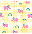 seamless pattern with pink elephants vector image vector image