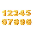 set numbers cheese style cartoon food design vector image vector image