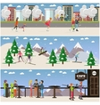 set of active winter people posters in flat vector image vector image