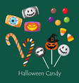 set of halloween candy vector image vector image