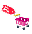 shopping infographic cart sale save 50 tag backgr vector image vector image