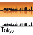 Tokyo skyline in orange background vector image vector image