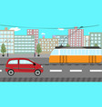 tram and car in a big city vector image vector image