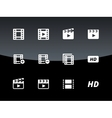 video icons on black background vector image vector image