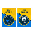 yellow and blue cards stop covid19 please wear vector image vector image