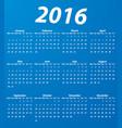 blue 2016 calendar modern simple design vector image