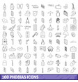 100 phobias icons set outline style vector image