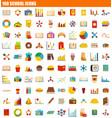 100 school icon set flat style vector image