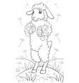 a children coloring bookpage a cute playing sheep vector image vector image