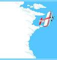 airplane in clouds vector image vector image