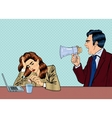 angry boss screaming in megaphone on woman vector image vector image