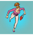 beautiful woman with a bag running vector image vector image