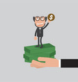 businessman raise hand up vector image vector image