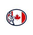 Canadian Baseball Batter Canada Flag Retro vector image vector image
