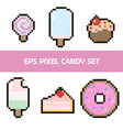 candy cake and ice cream pixel set vector image vector image
