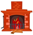 cartoon home fireplace vector image vector image