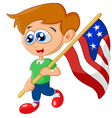 Cartoon little kid holding american flag vector image vector image