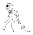 cartoon man criminal or secret agent vector image